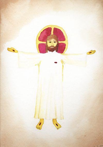 Auferstandener Jesus Christus, Aquarell von Br. Johannes S. Estner OPR