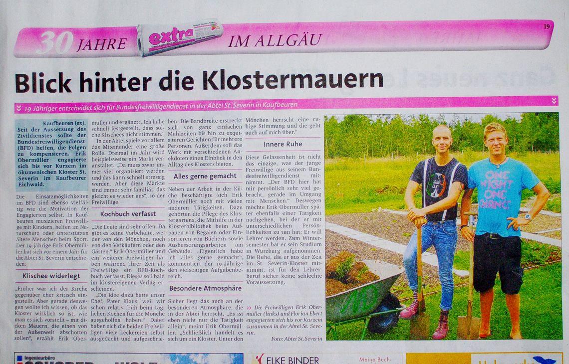 Artikel über unsere Bufdis im extra der Allgäuer Zeitung am 18.10.2012