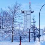 Das verschneite Kloster St. Severin im Kaufbeurer Eichwald