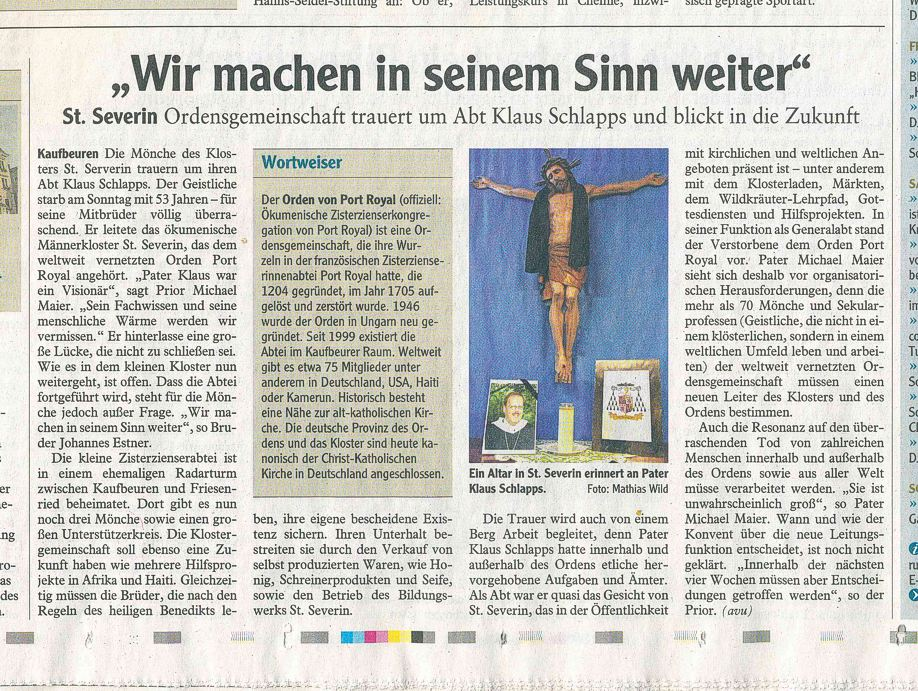 Artikel in der Allgäuer Zeitung vom 25.01.2013