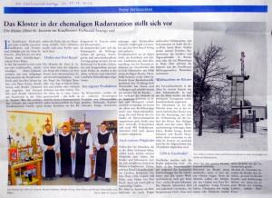 Artikel in der Weihnachtsbeilage der Allgäuer Zeitung am 13.12.2012 über das Kloster St. Severin
