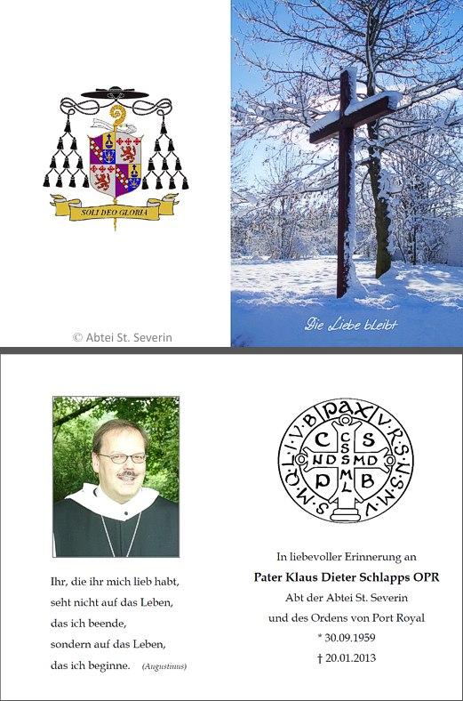 Sterbebild Abt Klaus Schlapps OPR