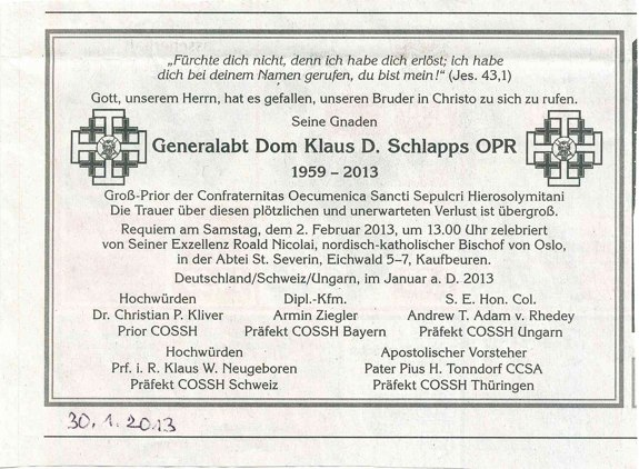 Todesanzeige der Ökumenischen Bruderschaft vom Heiligen Grab zu Jerusalem in der Allgäuer Zeitung vom 30.01.2013