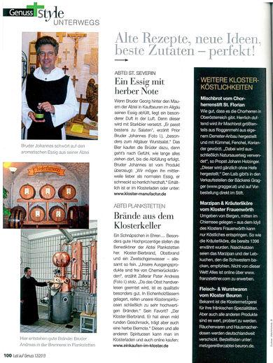 """Über unseren Bieressig in der Zeitschrift """"Lust auf Genuss"""""""