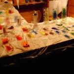 Die Bude mit Glasdesign am Abend